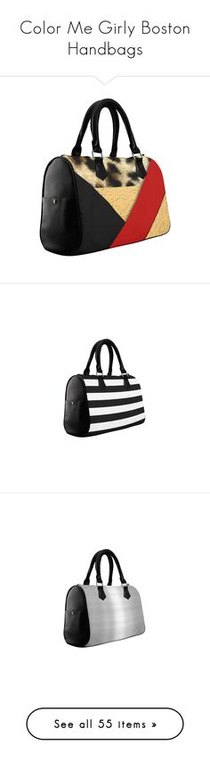 """Color Me Girly Boston Handbags"" by colormegirly ❤ liked on Polyvore featuring bags, handbags, pocket book, purses, shape, metallic purse, animal print handbag, man bag, polka dot handbags and print handbags"