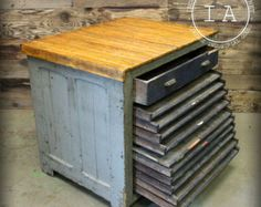 Antique 11 Drawer Hamilton Flat File Printers Cabinet