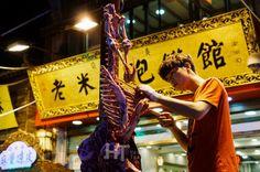 The butcher of Bei Yuan Men night market in Xi'an, China.