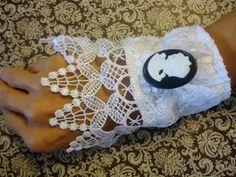 Handmade Wedding Fabric Cameo Bracelet /  by ChicEventsDecor