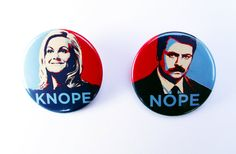 Leslie Knope and Ron Swanson Badge  Set - Magnets - Keyring - Parks and Recreation, Amy Poehler - Pin Back Badge