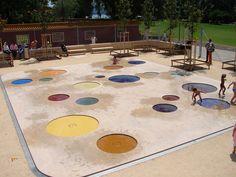 colorful spray park The-Zürichhorn-Playground « Landscape Architecture Works… Water Playground, Park Playground, Playground Design, Outdoor Playground, Children Playground, Atelier Architecture, Green Architecture, Landscape Architecture, Contemporary Landscape