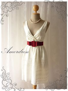 White Cream Lace Dress Vintage Inspired Dress Hobo by Amordress, $37.50