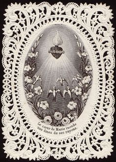 Catholic Holy Card: Beautiful Immaculate Heart of Mary image - flame, heart, and crown of flowers. Prayer Cards For Funeral, Funeral Cards, Religious Images, Religious Art, Vintage Holy Cards, Vintage Art, Santa Maria, Jesus E Maria, Christian Artwork