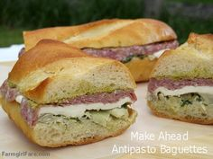 Make Ahead Antipasto Baguette Sandwiches with artichokes, mozzarella, green olives, and salami | Flickr - Photo Sharing!