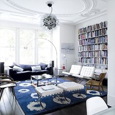 Room Swoon: Decorative white and blue living room   Life.Style.etc
