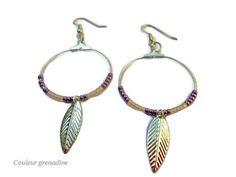 Boucles d'oreilles créoles perles et plume : Boucles d'oreille par couleur-grenadine33