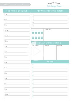 Printable Daily hourly planner template - Get things Done PDF #dailyplanner Daily Routine Planner, Weekly Hourly Planner, To Do Planner, Daily Planner Pages, Daily Planner Printable, Student Planner, Blog Planner, College Planner, Printable Calendars