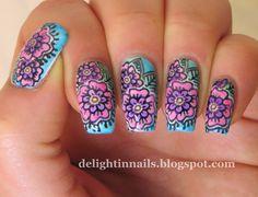 Floral manicure - Leadlighting Technique