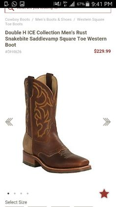 48097bcd81d2 Double H ICE™ Snakebite Saddle Vamp Square Toe - Total Image Workingmans · Mens  Square Toe BootsWestern ...