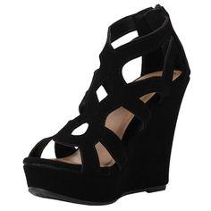 Top Moda Ella-15 Womens Strappy Open Toe Platform Wedge Sandals,10 B(M) US,Black