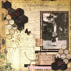 Timeless Memories ~ Heritage collage page with an interesting vintage ledger and tickets background, hexagonal clusters and journaling on an old tag.