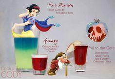 Disney Princess Cocktails Snow White's Fair Maiden: Blue Curacao Pineapple Juice Grumpy: Orange Vodka Grenadine Cream Evil to the Core: Jagermeister Apple Vodka Apple Pucker Cranberry Juice Disney Cocktails, Cocktail Disney, Disney Themed Drinks, Disney Alcoholic Drinks, Disney Mixed Drinks, Halloween Cocktails, Party Drinks, Cocktail Drinks, Fun Drinks