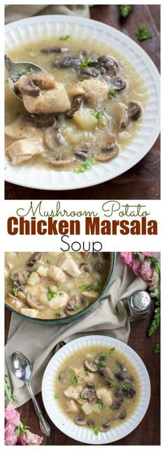 If you love chicken marsala than you're going to love this creamy (dairy-free) soup version! It's the perfect comforting dish you'll be craving all winter long + get the recipe for Carrabba's marsala sauce!