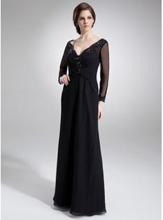 2d55930bd7 A-Line Princess V-neck Floor-Length Chiffon Mother of the Bride Dress With  Ruffle Lace Beading (008005948)
