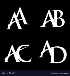 Monogram logo design aa-ab-ac-ad vector image on VectorStock Marca Personal, Personal Logo, Logo Desing, Lettering Design, Monogram Design, Monogram Logo, Brand Identity Design, Branding Design, Ac Logo