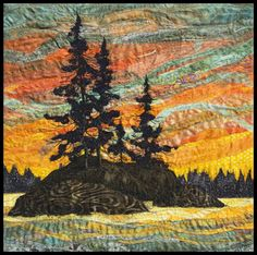 Island Sunset by L. Collage Landscape, Landscape Art Quilts, Fiber Art Quilts, Textile Fiber Art, Embroidered Quilts, Thread Painting, Quilted Wall Hangings, Felt Art, Tree Art
