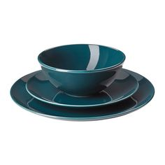 IKEA FÄRGRIK 18-piece service Dark turquoise The dinnerware's simple, functional design is easy to coordinate with other colours and shapes - and makes...