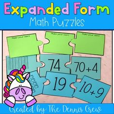 Expanded Form Puzzles {Two Digit Numbers} Math Strategies, Math Resources, Classroom Resources, Fun Writing Activities, Back To School Activities, Expanded Form Math, Expanded Notation, 3rd Grade Classroom, Math For Kids