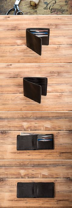 Cowhide leather mens wallet. Slim card holder for everyday use. With Black leather accessories and you will always look classy. Handmade by DiGeordie