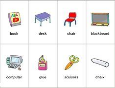 10 Objetos Escolares En Ingles - Imagui Magic Words, Blackboards, Desk Chair, Vocabulary, Worksheets, Kindergarten, School, Kids, Image