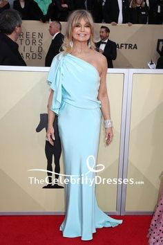 ff8fa2b70543 Goldie Hawn Light Sky Blue One-shoulder Evening Prom Dress 2018 SAG Awards  Red Carpet TCD7689