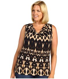 Calvin Klein Plus Size Mirrored Animal Printed Cowl Neck Top