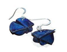 fold formed copper blue earrings by LunaLocoJewellery on Etsy