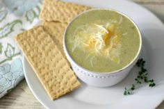 Broccoli and Cheese Soup - A light, healthy, cheesy, creamy soup made with broccoli and broccoli romanesco florets.