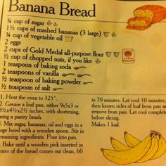Classic Banana Bread ❤️ - Things I Love: Desserts Edition - Nut Bread Recipe, Easy Bread Recipes, Old Recipes, Banana Bread Recipes, Vintage Recipes, Cooking Recipes, Gold Medal Banana Bread Recipe, Dinner Recipes, Dessert