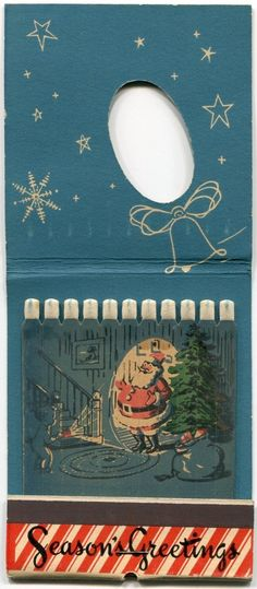Loved getting these at Christmas time. Season's Greeting's Large Santa Match Book from rustyrecycle on Ruby Lane. Christmas Past, Retro Christmas, Vintage Christmas Cards, Vintage Holiday, Matchbox Art, Vintage Graphic Design, Light My Fire, Vintage Photos, Illustrations