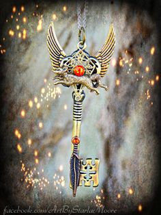 Fox Spirit Totem Fantasy Key Pendant OOAK by ArtbyStarlaMoore, $25.00