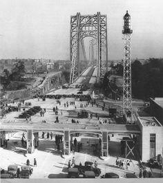 George Washington Bridge in Fort Lee. Opening day 10-24-1931. New York