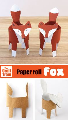 Easy paper roll fox craft for kids with free printable template. Flatten roll, trace shape, cut out, pop into a cylinder again and decorate to look like a fox. A fun woodland animal craft for kids to make in Autumn or Fall and a great recycling craft. #kidscrafts #woodlandanimals #foxcraft #autumn #fall #recyclingcraft #funkidscrafts #craftsforkids #animalcrafts #cardboard #diytoy #fox #thecrafttrain Toilet Roll Craft, Toilet Paper Roll Art, Kids Toilet, Rolled Paper Art, Animal Crafts For Kids, Paper Crafts For Kids, Crafts For Kids To Make, Fun Activities For Kids, Infant Activities