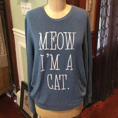 MEOW I'm a Cat! Blue Long Sleeve Sweatshirt L MEOW I'm a Cat! Blue Long Sleeve extremely soft Sweatshirt Size large. In good condition; worn and laundered a few times. Forever 21 Tops Sweatshirts & Hoodies