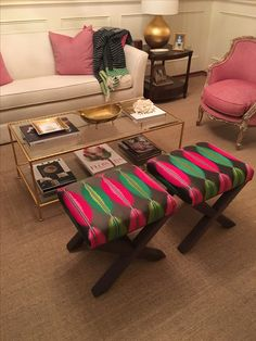 Custom Designed Silk X Benches for my clients sitting room!