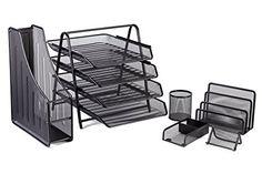 Phone Stand//Pencil Cup//Business Card Holder//Memo Holder//Letter Holder Halter Executive 5 Piece Mesh Wood Office Desk Set