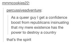 *Oliver Sykes's voice* YEAH THAT'S THE SPIRIT! (what's great is that I was listening to BMTH while reading this lmao) Literally, That's The Spirit album though. What if it's a sign? lol// same as a queer enby Lgbt Memes, Funny Memes, Hilarious, Jokes, Haha, The Villain, My Guy, Tumblr Posts, Tumblr Funny