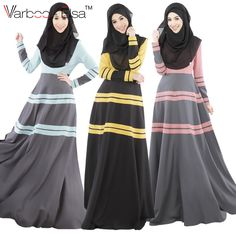 2016 De Mode Musulmane Manches Longues Maxi Slim Casual Robe Musulmane Musulman abaya jilbab islamique vê Muslim Evening Dresses, Muslim Dress, Muslim Hijab, Hijab Dress, Evening Gowns, Dress Skirt, Mode Abaya, Mode Hijab, Islamic Fashion