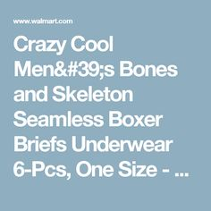 Crazy Cool Men's Bones and Skeleton Seamless Boxer Briefs Underwear 6-Pcs, One Size - Walmart.com