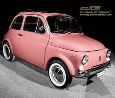 Fiat 500 Pop, Fiat 126, Vintage Cars, Antique Cars, Fiat 500l, Pink Panthers, S Car, Pink Plastic, Car In The World