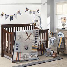 Lambs & Ivy® Varsity Gray/Blue Sports 4 Piece Crib Bedding Set