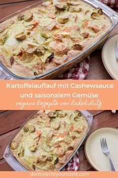 Ein einfacher leckerer und veganer Kartoffelauflauf mit Cashewsauce und saisonalem Gemüse. Wer kann denn da Wiederstehen? Die Gewürze die ich in diesem Rezept verwende und die sehr cremige Konsistenz der Cashewsauce machen dieses Rezept zu einem hammer Rezept das auch dir bestimmt sehr gut schmecken wird! #vegan #kartoffelgratin #veganerezepte #kartoffelauflauf #cashewsauce #moulinex #moulinexicompanion I Companion, Base Foods, Plant Based Recipes, Hummus, Whole Food Recipes, Bread, Ethnic Recipes, Vegan Tofu Scramble, Peeling Potatoes