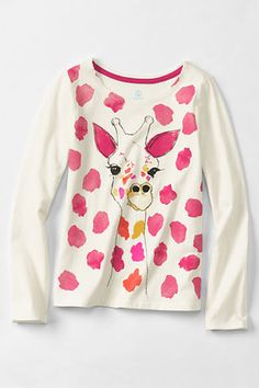 Girl's Long Sleeve Trim Graphic T-shirt from Lands' End