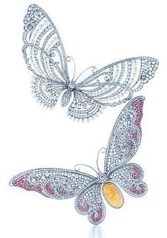 Tiffany & Co Butterfly brooches : diamond and seed pearl; diamonds, pink sapphires and opal.