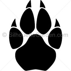 Cougar paw print silhouette clip art. Download free versions of the image in EPS, JPG, PDF, PNG, and SVG formats at http://silhouettegarden.com/download/cougar-paw-print-silhouette/