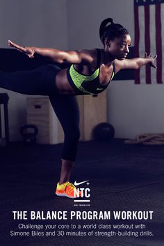 THE BALANCE PROGRAM WORKOUT // Inspired by Simone Biles' training, the Nike+ Training Club Balance Program workout challenges you to work out like an Olympian with 30-minutes of intense drills. Take on donkey kicks, speed skaters and more quick-fire exercises to push yourself stronger. Think you can take the heat? Try it now on the NTC app, with an audio walk-through of every drill to keep you moving and energized.