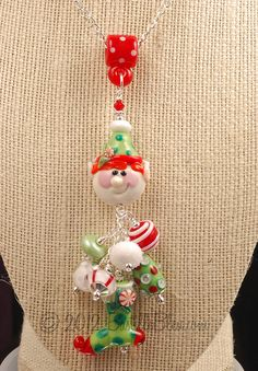 Jolly Jax the Elf Holiday Charm Pendant Clay Beads, Lampwork Beads, Bead Crafts, Jewelry Crafts, Christmas Jewelry, Hanging Ornaments, How To Make Beads, Bead Art, Jewelry Supplies