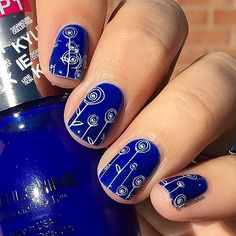 Blue stamped nail art  @sinfulcolors_official True Kolor stamped with @moyou_london Princess Plate 14.