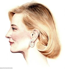 Most of the stars are seen with a contemplative look in their eyes - however, Cate Blanchett (above) appears with a cheeky smile on her face
